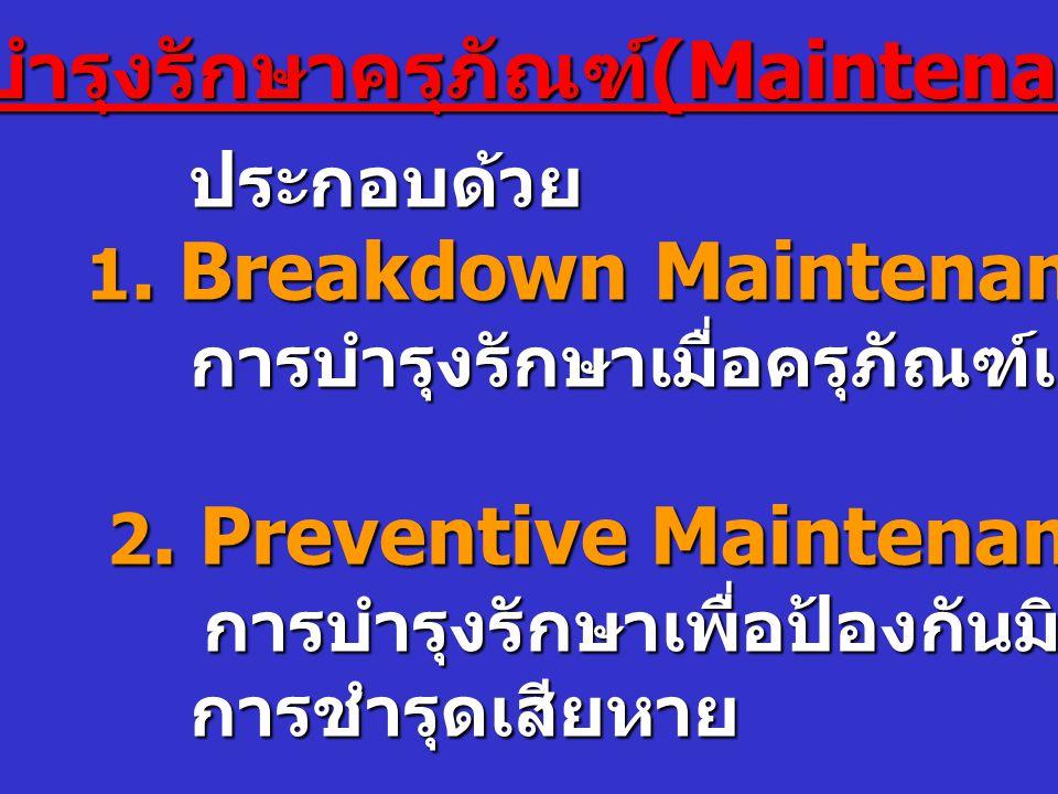 การบำรุงรักษาครุภัณฑ์ (Maintenance) ประกอบด้วย ประกอบด้วย 1.