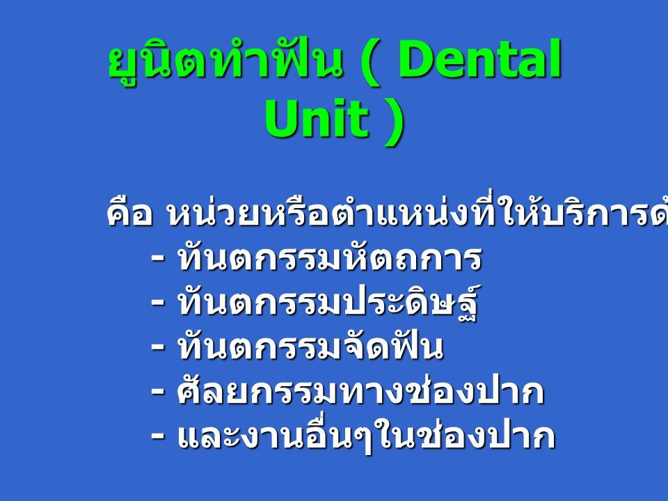 ยูนิตทำฟัน ( Dental Unit ) คือ หน่วยหรือตำแหน่งที่ให้บริการด้านทันตกรรม - ทันตกรรมหัตถการ - ทันตกรรมหัตถการ - ทันตกรรมประดิษฐ์ - ทันตกรรมประดิษฐ์ - ทันตกรรมจัดฟัน - ทันตกรรมจัดฟัน - ศัลยกรรมทางช่องปาก - ศัลยกรรมทางช่องปาก - และงานอื่นๆในช่องปาก - และงานอื่นๆในช่องปาก