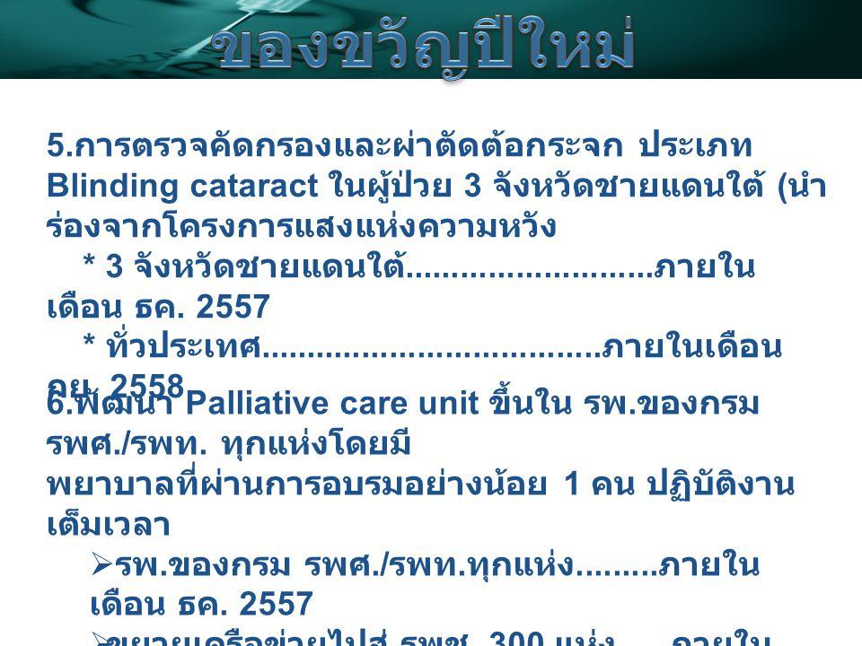 6. พัฒนา Palliative care unit ขึ้นใน รพ. ของกรม รพศ./ รพท.