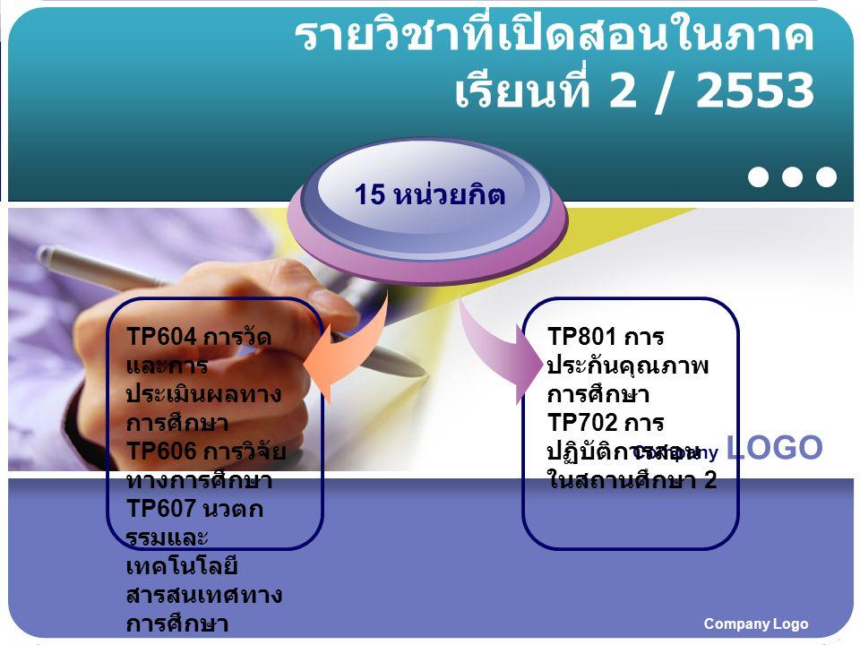 Company LOGO Company Logo รายวิชาที่เปิดสอนในภาค เรียนที่ 2 / 2553 TP604 การวัด และการ ประเมินผลทาง การศึกษา TP606 การวิจัย ทางการศึกษา TP607 นวตก รรมและ เทคโนโลยี สารสนเทศทาง การศึกษา 15 หน่วยกิต TP801 การ ประกันคุณภาพ การศึกษา TP702 การ ปฏิบัติการสอน ในสถานศึกษา 2