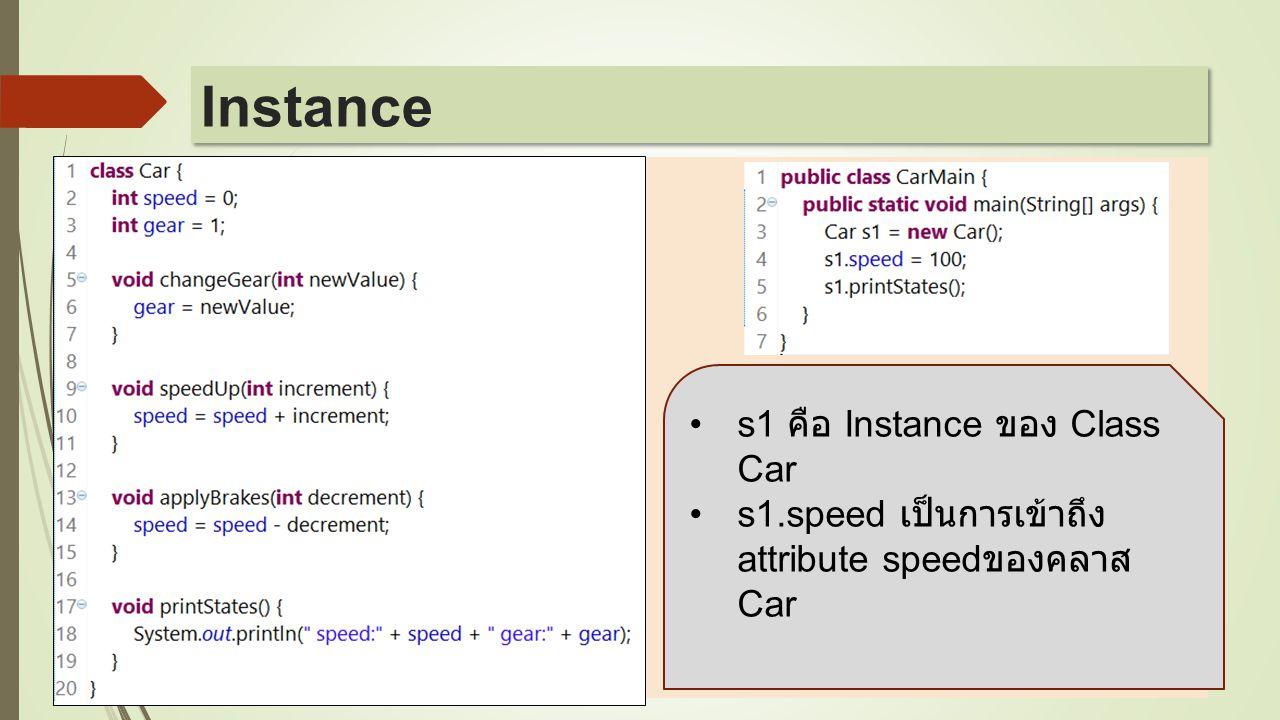  s1 คือ Instance ของ Class Car s1.speed เป็นการเข้าถึง attribute speed ของคลาส Car