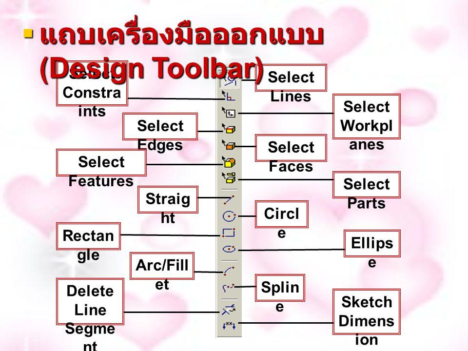 Select Lines Select Constr aints Select Workpl anes Select Edges Select Faces Select Features Select Parts Straig ht Circl e Recta ngle Ellips e Arc/Fil let Spli ne Delete Line Segme nt Sketch Dimen sion  แถบเครื่องมือออกแบบ (Design Toolbar)