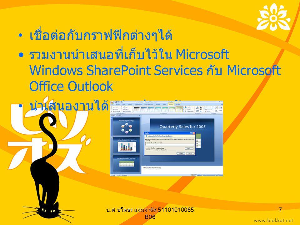 น. ส. ชโลธร แจ่มจำรัส 51101010065 B06 7 เชื่อต่อกับกราฟฟิกต่างๆได้ รวมงานนำเสนอที่เก็บไว้ใน Microsoft Windows SharePoint Services กับ Microsoft Office