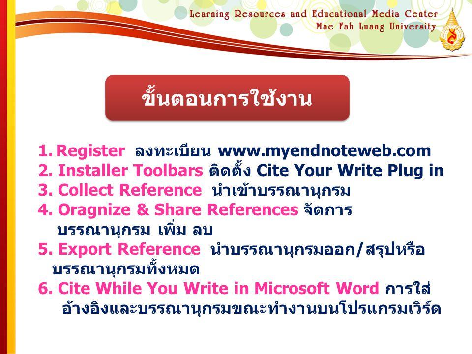 1.Register ลงทะเบียน www.myendnoteweb.com 2. Installer Toolbars ติดตั้ง Cite Your Write Plug in 3. Collect Reference นำเข้าบรรณานุกรม 4. Oragnize & Sh