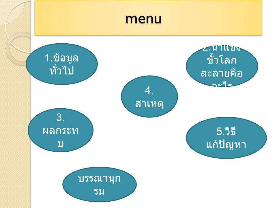 menu menu 1.ข้อมูล ทั่วไป 2. น้ำแข็ง ขั้วโลก ละลายคือ อะไร 3.