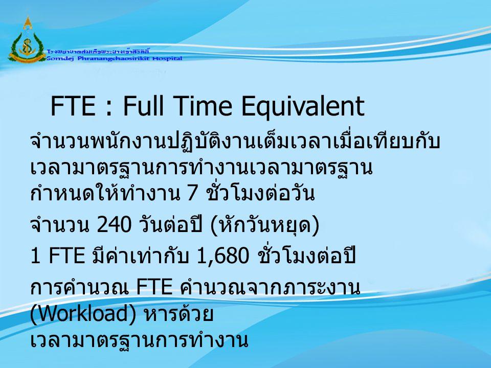 FTE : Full Time Equivalent จำนวนพนักงานปฏิบัติงานเต็มเวลาเมื่อเทียบกับ เวลามาตรฐานการทำงานเวลามาตรฐาน กำหนดให้ทำงาน 7 ชั่วโมงต่อวัน จำนวน 240 วันต่อปี