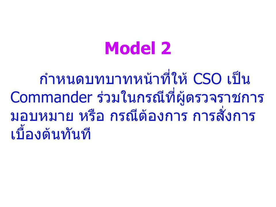 Model 2 กำหนดบทบาทหน้าที่ให้ CSO เป็น Commander ร่วมในกรณีที่ผู้ตรวจราชการ มอบหมาย หรือ กรณีต้องการ การสั่งการ เบื้องต้นทันที