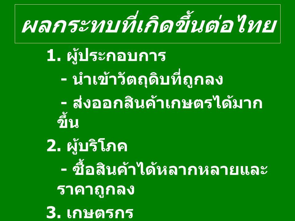ผลกระทบที่เกิดขึ้นต่อไทย 1. ผู้ประกอบการ - นำเข้าวัตถุดิบที่ถูกลง - ส่งออกสินค้าเกษตรได้มาก ขึ้น 2. ผู้บริโภค - ซื้อสินค้าได้หลากหลายและ ราคาถูกลง 3.