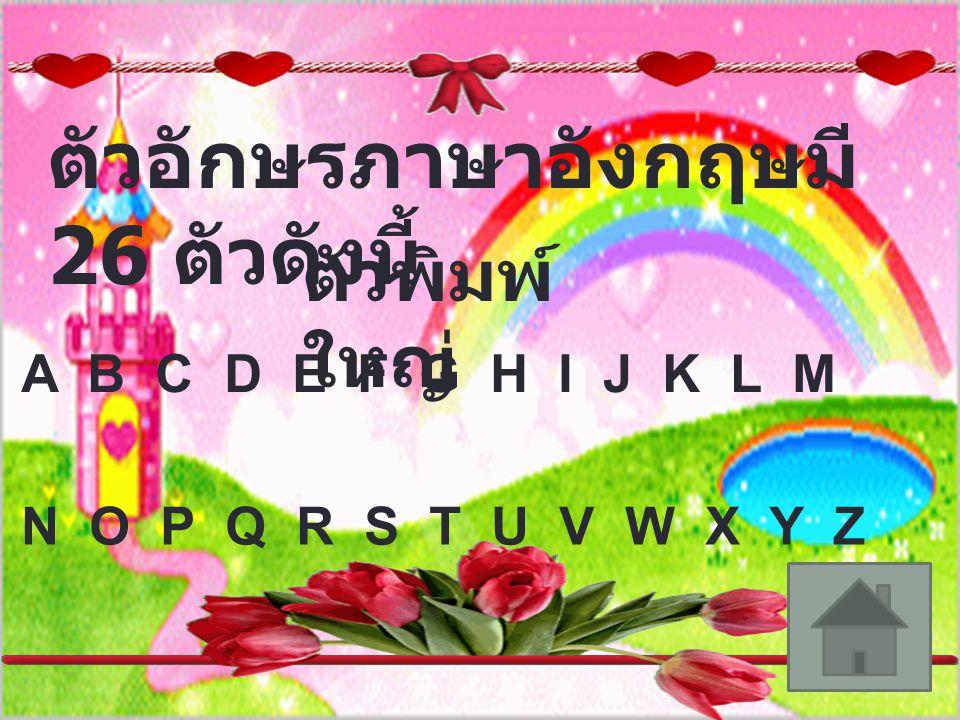 ตัวอักษรภาษาอังกฤษมี 26 ตัวดังนี้ ตัวพิมพ์ เล็ก a b c d e f g h i j k l m n o p q r s t u v w x y z