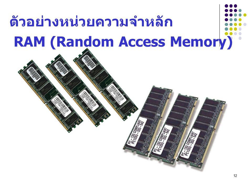 12 ตัวอย่างหน่วยความจำหลัก RAM (Random Access Memory)