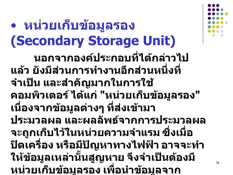 14 หน่วยเก็บข้อมูลรอง (Secondary Storage Unit) นอกจากองค์ประกอบที่ได้กล่าวไป แล้ว ยังมีส่วนการทำงานอีกส่วนหนึ่งที่ จำเป็น และสำคัญมากในการใช้ คอมพิวเตอร์ ได้แก่ หน่วยเก็บข้อมูลรอง เนื่องจากข้อมูลต่างๆ ที่ส่งเข้ามา ประมวลผล และผลลัพธ์จากการประมวลผล จะถูกเก็บไว้ในหน่วยความจำแรม ซึ่งเมื่อ ปิดเครื่อง หรือมีปัญหาทางไฟฟ้า อาจจะทำ ให้ข้อมูลเหล่านั้นสูญหาย จึงจำเป็นต้องมี หน่วยเก็บข้อมูลรอง เพื่อนำข้อมูลจาก หน่วยความจำแรมมาเก็บไว้เพื่อเรียกใช้ งานต่อไป หน่วยเก็บข้อมูลรองที่นิยมใช้กันอย่าง แพร่หลายในปัจจุบัน ได้แก่ Floppy Disk (Diskette), Hard Disk และ CD-ROM