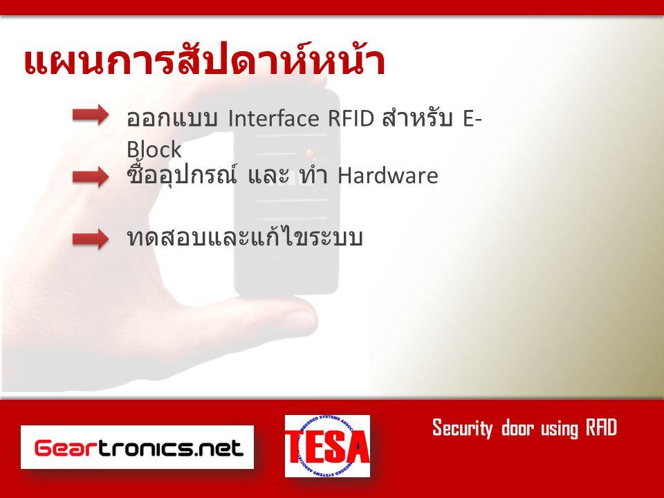 ออกแบบ Interface RFID สำหรับ E- Block ซื้ออุปกรณ์ และ ทำ Hardware ทดสอบและแก้ไขระบบ แผนการสัปดาห์หน้า Security door using RFID