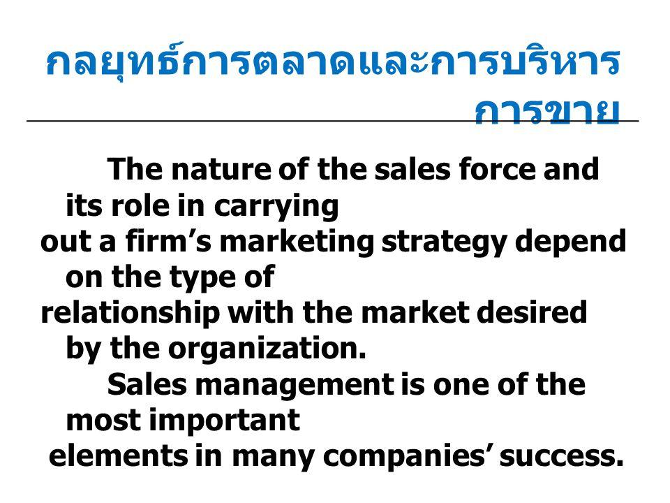 ภาพรวมของการบริหารการขาย การ สภาพแวด ล้อ ม กลยุทธ์ การตลาด กิจกรรม การ บริหาร การขาย ผลลัพธ์การ ควบคุม การ กำหนด การ ปฏิบัติงาน ของ พนักงาน ขาย สภาพแว ดล้อม ภายนอก สภาพแว ดล้อมใน องค์กร กิจกรร ม การตล าด นโยบาย การ จัดการ ขาย จัด องค์กร การขาย วางแผน การขาย ออกแบบ งาน การ อำนวยกา ร งานของ พนักงานขาย การ คัดเลือก อบรม จูง ใจ พนักงาน ขาย คุณลัก ษณะ ส่วน บุคคล การ ปฏิบัติ การ ควบคุม และ ประเมินผ ล การ ป้อนกลับ