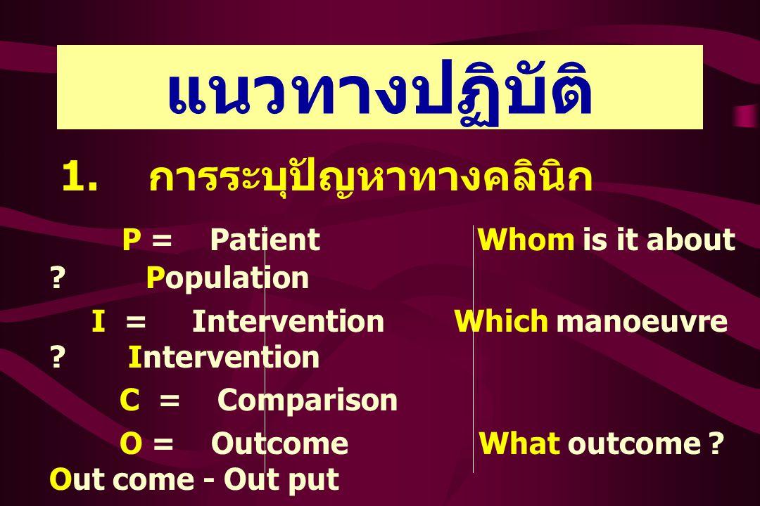 แนวทางปฏิบัติ 1. การระบุปัญหาทางคลินิก P = Patient Whom is it about .