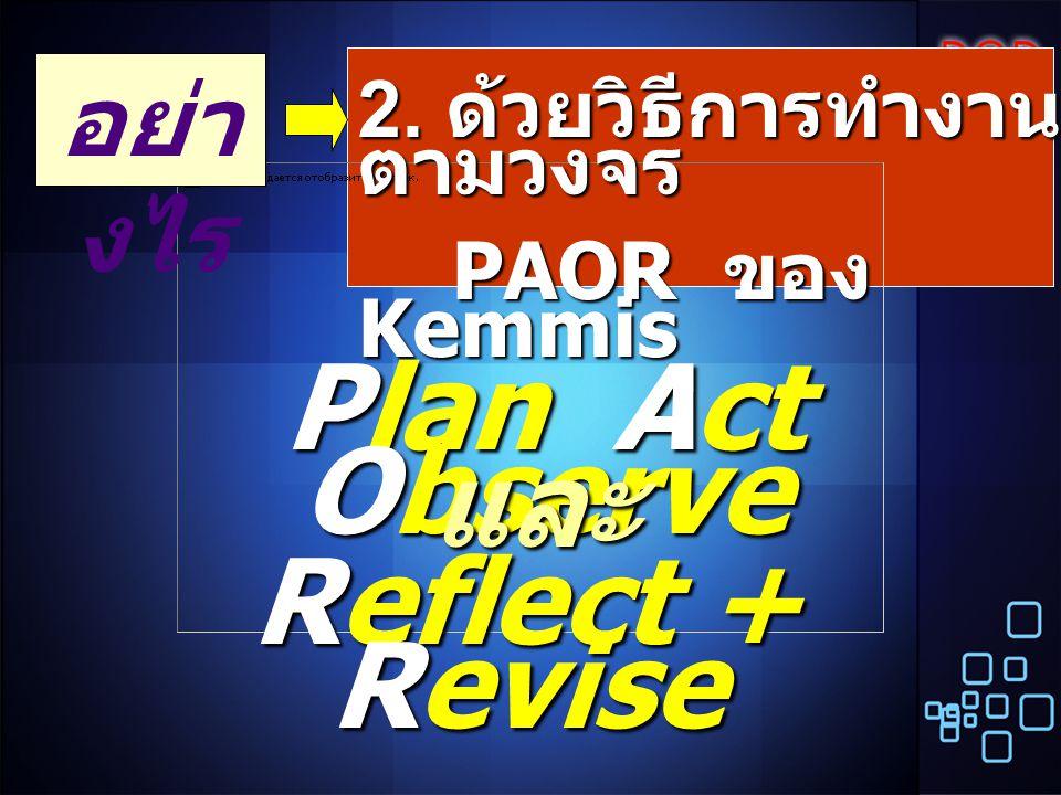 2. ด้วยวิธีการทำงาน ตามวงจร PAOR ของ Kemmis PAOR ของ Kemmis อย่า งไร Plan Act Observe Reflect + Revise และ