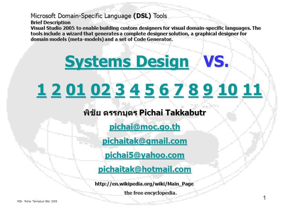 MIS: Pichai Takkabutr EAU 2005 2 Systems Design 1.Design Definition 2.Type of Design http://www.dexigner.com/http://www.dexigner.com/ TYPES ตัวอย่างการออกแบบระบบต่างๆ Design Directory   Design Database   Design Forums   Newsletter   Mailing List   Wap   Link to Us   Contact & About Usesign DirectoryDesign DatabaseDesign Forums NewsletterMailing ListWapLink to UsContact & About Us http://www.tutorialized.com/http://www.tutorialized.com/ TUTOR http://www.innovasiagraphics.com/http://www.innovasiagraphics.com/ Design Sample