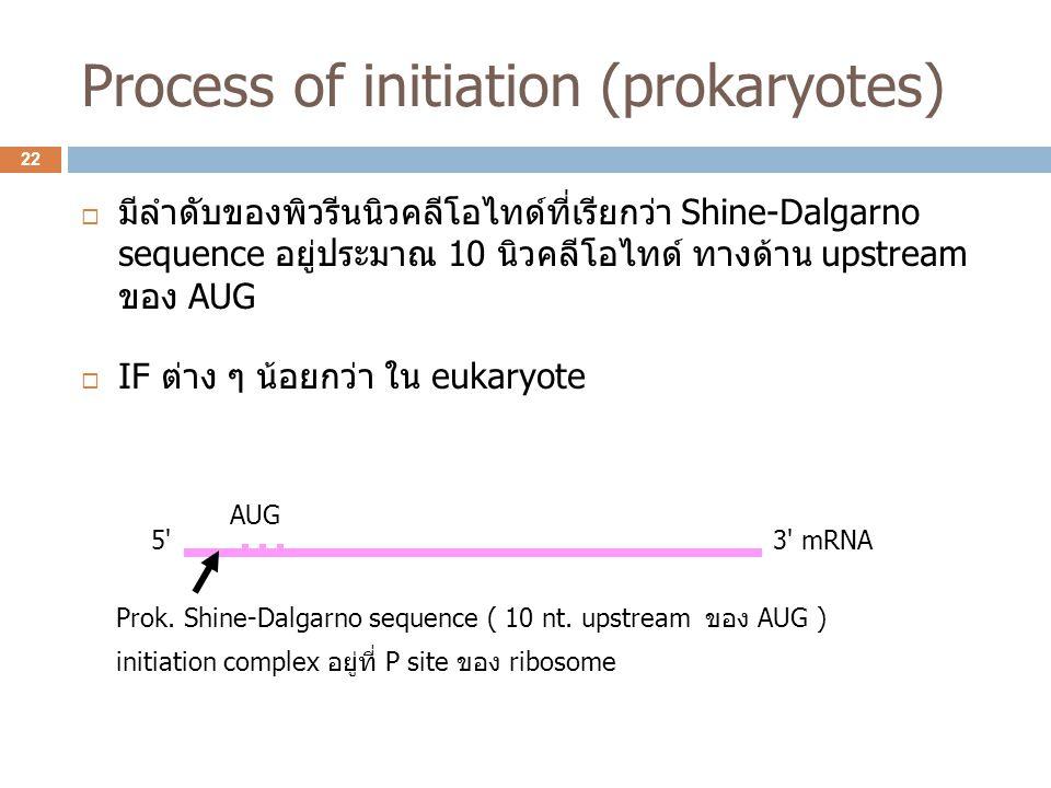 Process of initiation (prokaryotes)  มีลำดับของพิวรีนนิวคลีโอไทด์ที่เรียกว่า Shine-Dalgarno sequence อยู่ประมาณ 10 นิวคลีโอไทด์ ทางด้าน upstream ของ