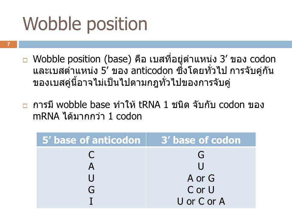 Wobble position  Wobble position (base) คือ เบสที่อยู่ตำแหน่ง 3' ของ codon และเบสตำแหน่ง 5' ของ anticodon ซึ่งโดยทั่วไป การจับคู่กัน ของเบสคู่นี้อาจไ