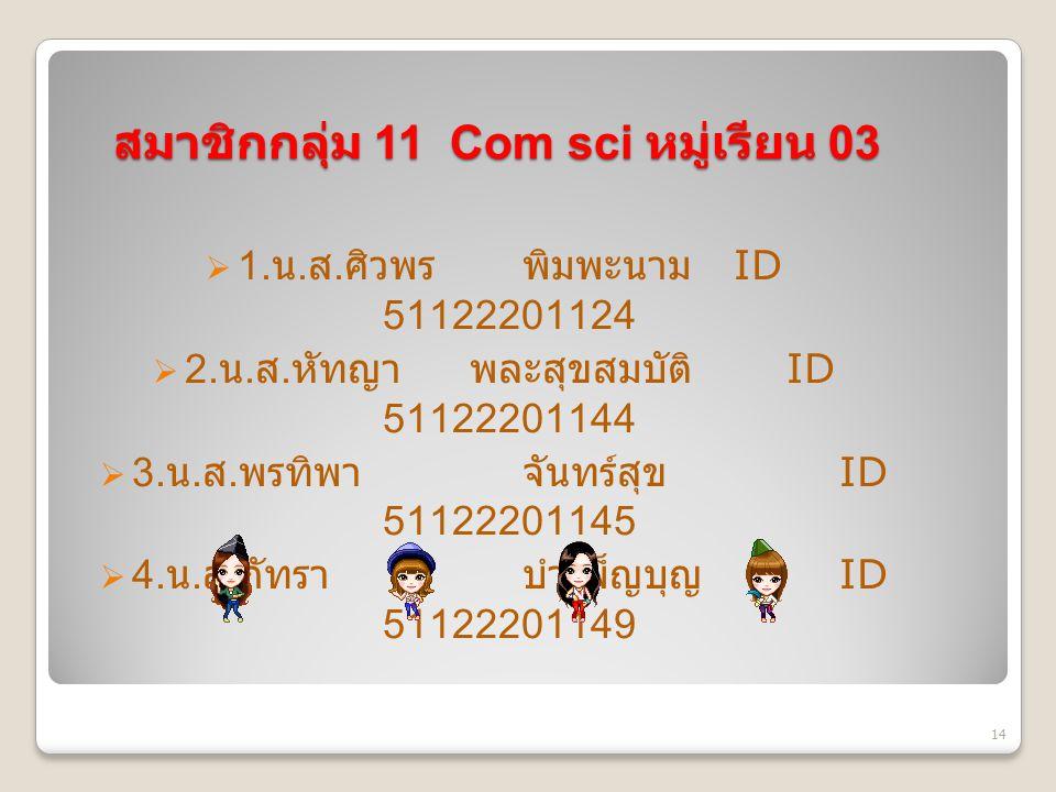 สมาชิกกลุ่ม 11 Com sci หมู่เรียน 03  1. น. ส. ศิวพร พิมพะนาม ID 51122201124  2.