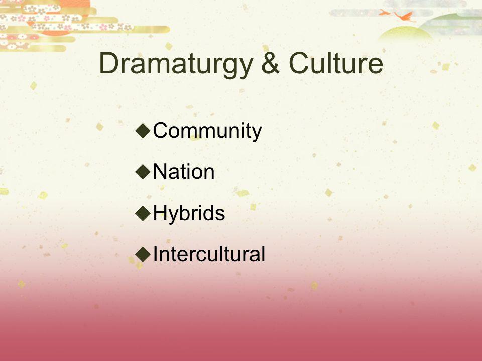Dramaturgy & Culture  Community  Nation  Hybrids  Intercultural