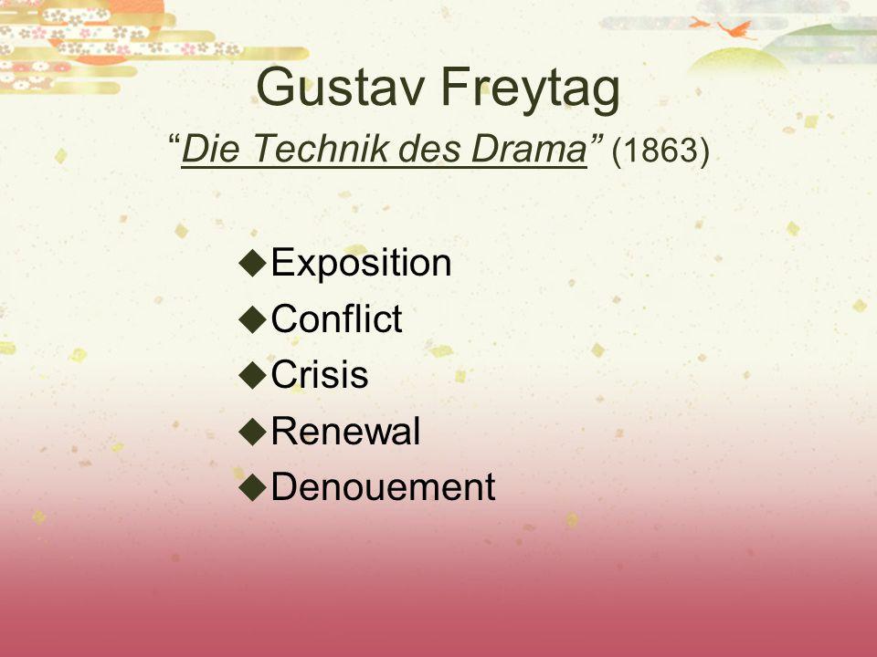 "Gustav Freytag ""Die Technik des Drama"" (1863)  Exposition  Conflict  Crisis  Renewal  Denouement"