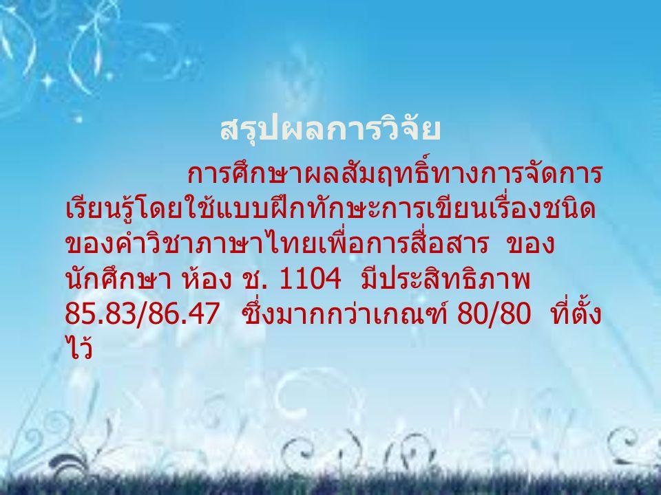 สรุปผลการวิจัย การศึกษาผลสัมฤทธิ์ทางการจัดการ เรียนรู้โดยใช้แบบฝึกทักษะการเขียนเรื่องชนิด ของคำวิชาภาษาไทยเพื่อการสื่อสาร ของ นักศึกษา ห้อง ช. 1104 มี