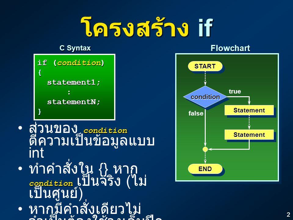 22 โครงสร้าง if if (condition) { statement1; statement1;: statementN; statementN;} if (condition) { statement1; statement1;: statementN; statementN;}