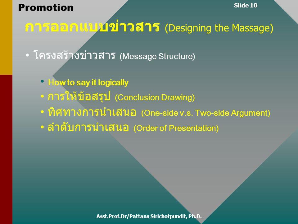 Slide 10 Promotion การออกแบบข่าวสาร (Designing the Massage) โครงสร้างข่าวสาร (Message Structure) How to say it logically การให้ข้อสรุป (Conclusion Dra