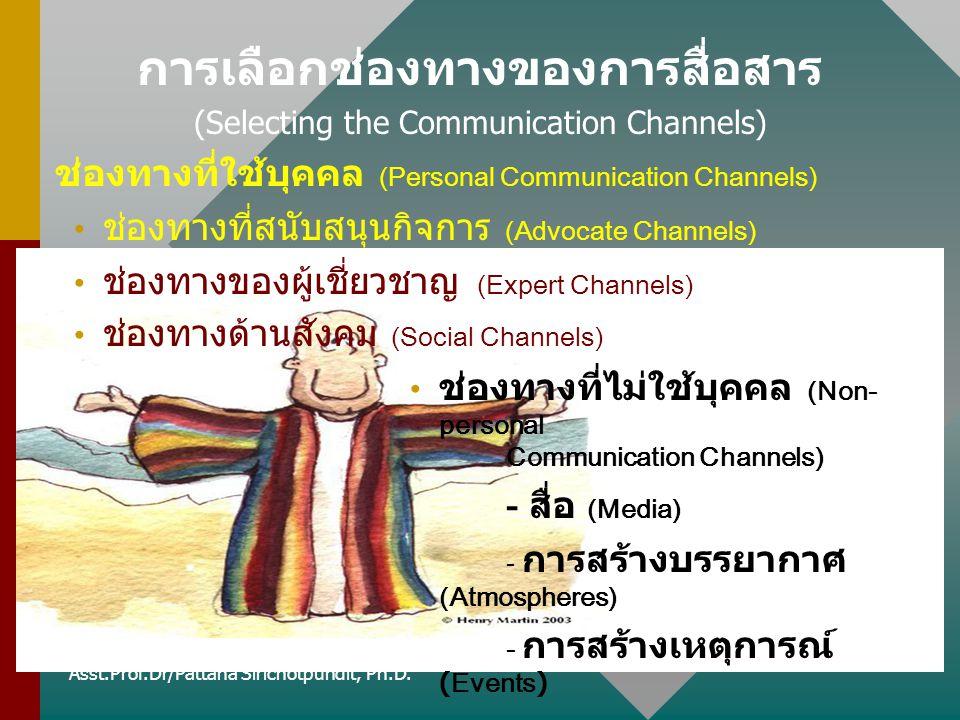 การเลือกช่องทางของการสื่อสาร (Selecting the Communication Channels) ช่องทางที่ใช้บุคคล (Personal Communication Channels) ช่องทางที่สนับสนุนกิจการ (Adv