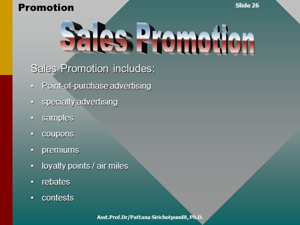 Slide 26 Promotion Asst.Prof.Dr/Pattana Sirichotpundit, Ph.D. Sales Promotion includes: Point-of-purchase advertisingPoint-of-purchase advertising spe