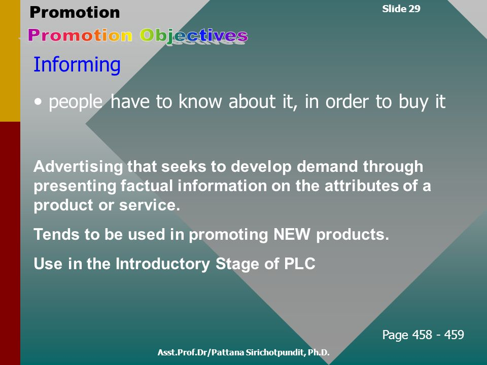Slide 29 Promotion Asst.Prof.Dr/Pattana Sirichotpundit, Ph.D. Informing people have to know about it, in order to buy it Advertising that seeks to dev