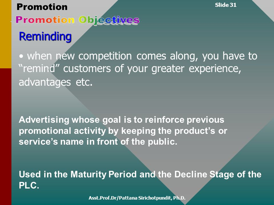 "Slide 31 Promotion Asst.Prof.Dr/Pattana Sirichotpundit, Ph.D. Reminding when new competition comes along, you have to ""remind"" customers of your great"