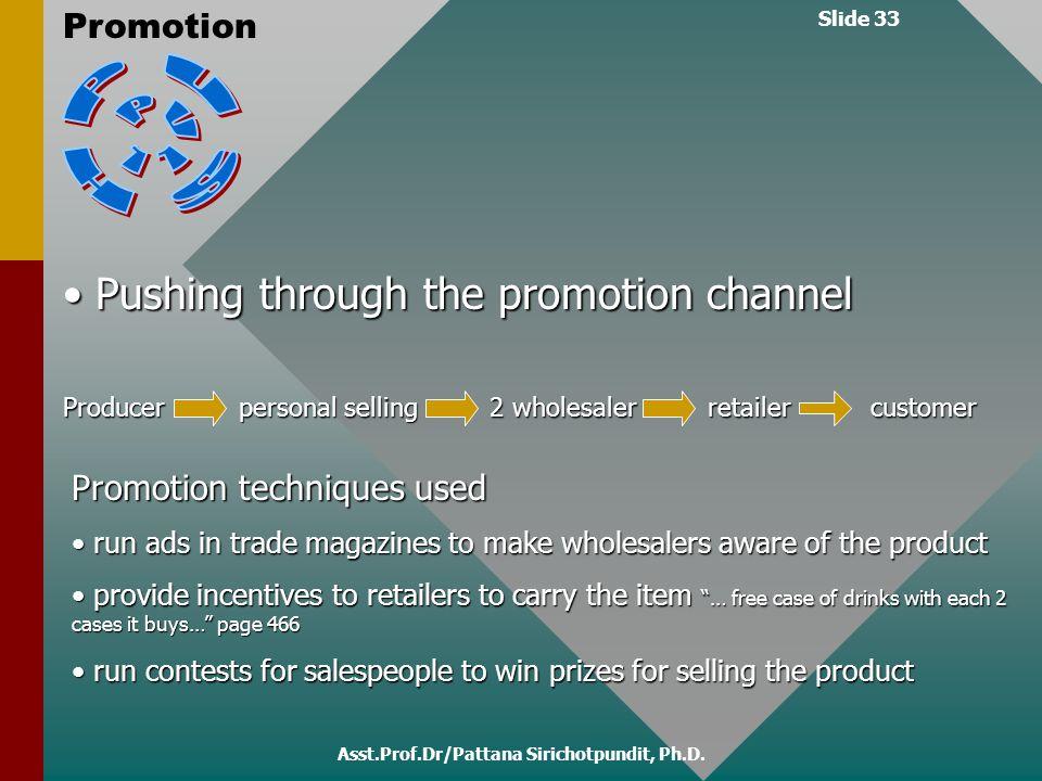 Slide 33 Promotion Asst.Prof.Dr/Pattana Sirichotpundit, Ph.D. Pushing through the promotion channel Pushing through the promotion channel Producer - p