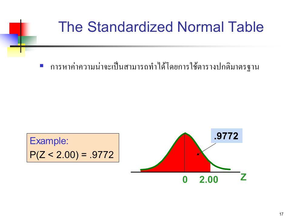 17 The Standardized Normal Table  การหาค่าความน่าจะเป็นสามารถทำได้โดยการใช้ตารางปกติมาตรฐาน Z 02.00.9772 Example: P(Z < 2.00) =.9772