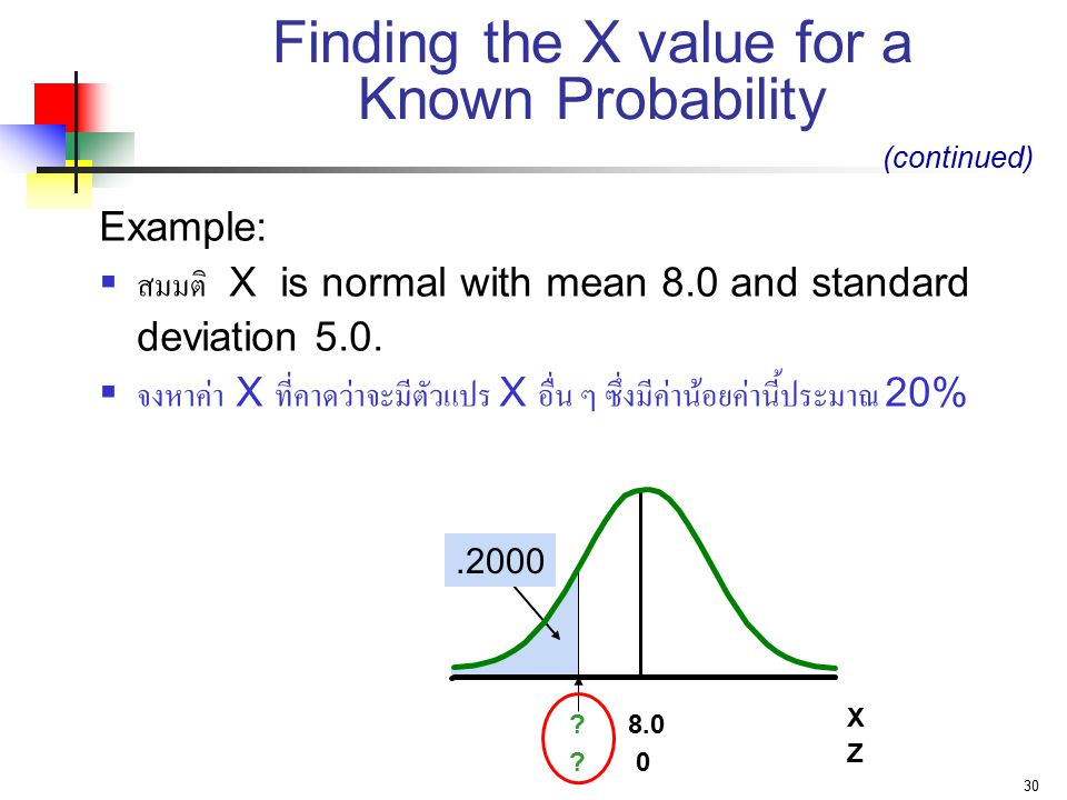30 Finding the X value for a Known Probability Example:  สมมติ X is normal with mean 8.0 and standard deviation 5.0.