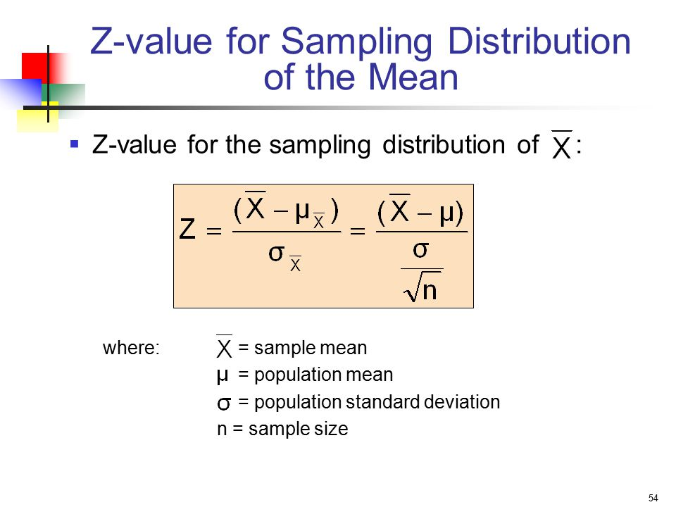 54 Z-value for Sampling Distribution of the Mean  Z-value for the sampling distribution of : where:= sample mean = population mean = population standard deviation n = sample size