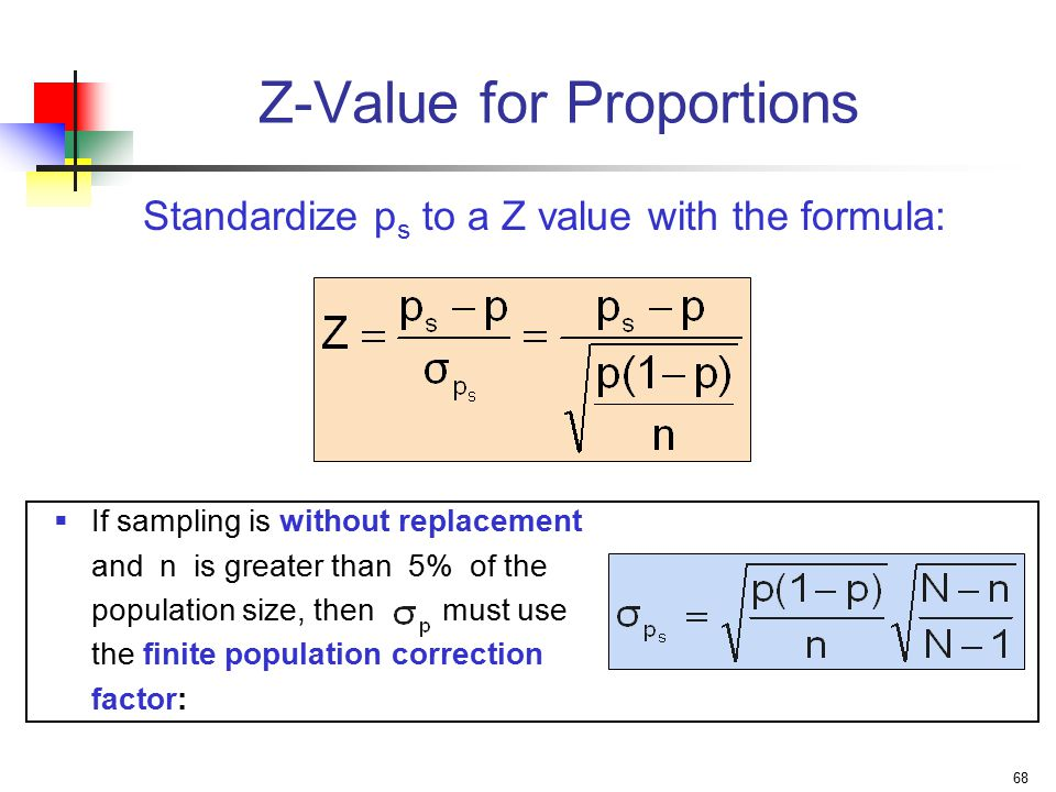 68 Z-Value for Proportions  If sampling is without replacement and n is greater than 5% of the population size, then must use the finite population correction factor: Standardize p s to a Z value with the formula: