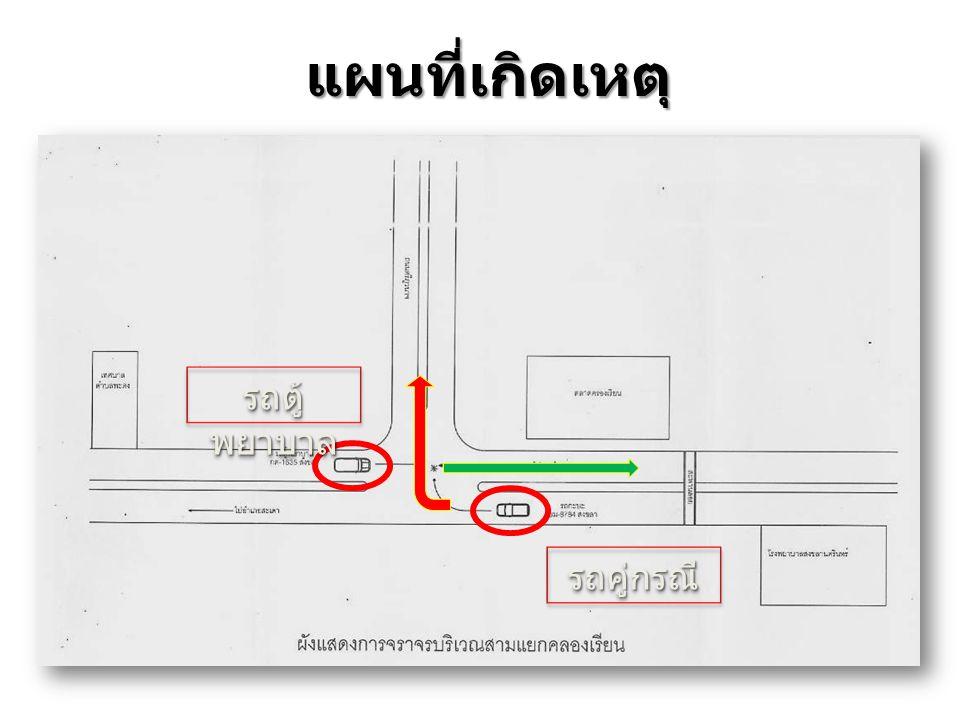 แผนที่เกิดเหตุ รถตู้ พยาบาล รถคู่กรณีรถคู่กรณี