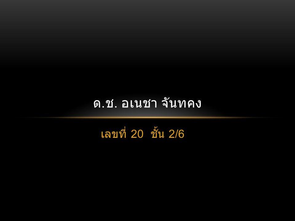 เลขที่ 20 ชั้น 2/6 ด. ช. อเนชา จันทคง