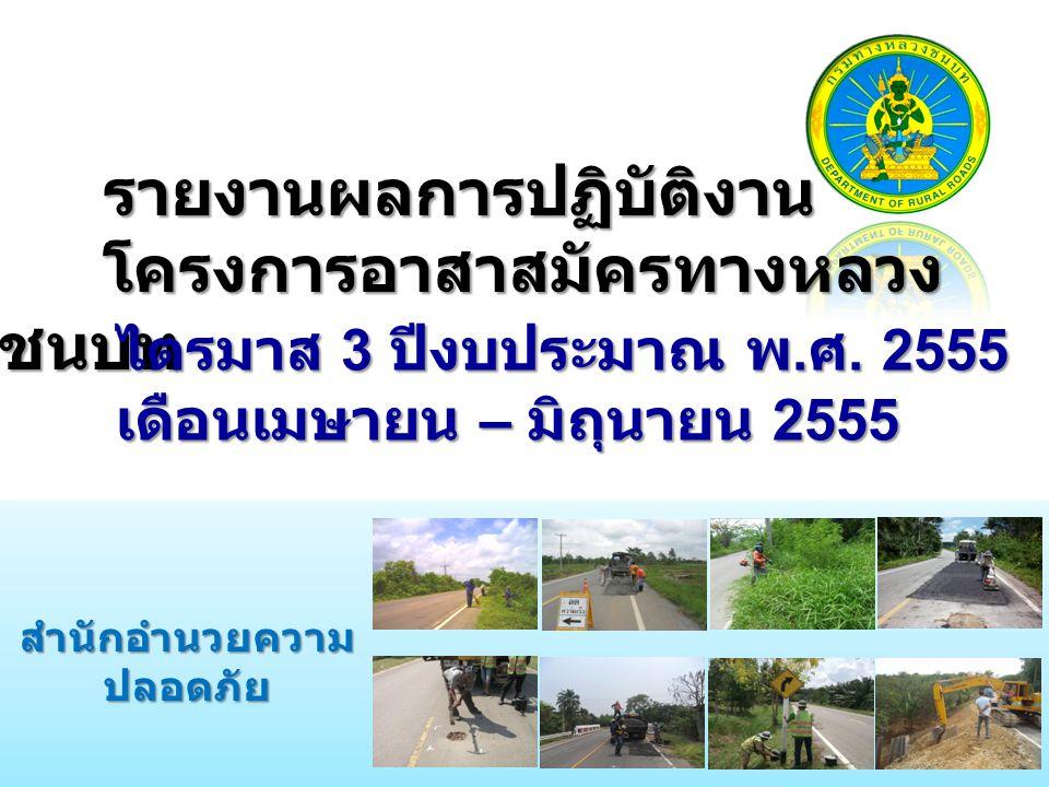 รายงานผลการปฏิบัติงาน โครงการอาสาสมัครทางหลวง ชนบท สำนักอำนวยความ ปลอดภัย ไตรมาส 3 ปีงบประมาณ พ. ศ. 2555 เดือนเมษายน – มิถุนายน 2555