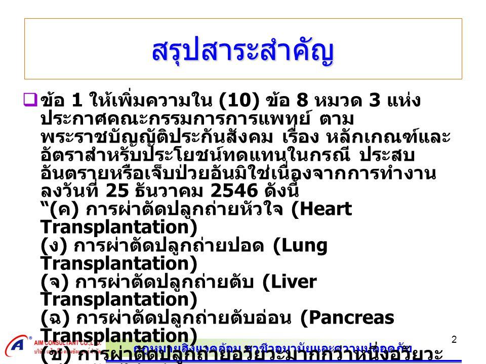 กฎหมายสิ่งแวดล้อม อาชีวอนามัยและความปลอดภัย 3 สรุปสาระสำคัญ  1) การผ่าตัดปลูกถ่ายหัวใจ และปอด (Heart-lung Transplantation) 2) การผ่าตัดปลูกถ่ายหัวใจ และไต (Heart- kidney Transplantation) 3) การผ่าตัดปลูกถ่ายตับ และไต (Simultaneous liver kidney transplantation) 4) การผ่าตัด ปลูกถ่ายตับอ่อน และไต (Simultaneous pancreas kidney transplantation or SPK) ทั้งนี้ หลักเกณฑ์ เงื่อนไขและอัตราการบริการทาง การแพทย์ ตาม ( ค ) ( ง ) ( จ ) ( ฉ ) และ ( ช ) ตามแนบ ท้ายประกาศนี้  ข้อ 2 ประกาศฉบับนี้ให้ใช้บังคับตั้งแต่วันที่ 1 พฤษภาคม พ.