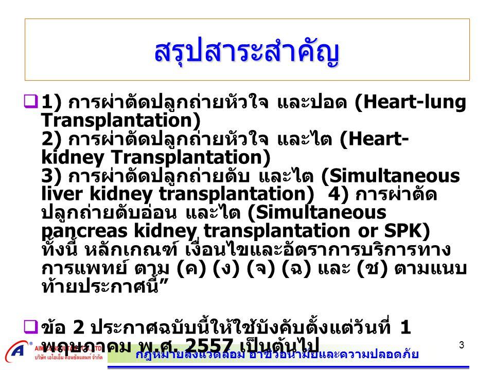 กฎหมายสิ่งแวดล้อม อาชีวอนามัยและความปลอดภัย 3 สรุปสาระสำคัญ  1) การผ่าตัดปลูกถ่ายหัวใจ และปอด (Heart-lung Transplantation) 2) การผ่าตัดปลูกถ่ายหัวใจ