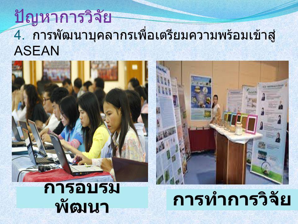 ปัญหาการวิจัย 4. การพัฒนาบุคลากรเพื่อเตรียมความพร้อมเข้าสู่ ASEAN การอบรม พัฒนา การทำการวิจัย
