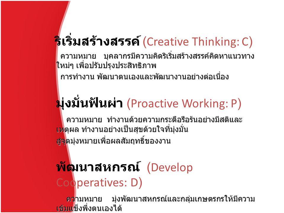 ริเริ่มสร้างสรรค์ (Creative Thinking: C) ความหมาย บุคลากรมีความคิดริเริ่มสร้างสรรค์คิดหาแนวทาง ใหม่ๆ เพื่อปรับปรุงประสิทธิภาพ ความหมาย บุคลากรมีความคิดริเริ่มสร้างสรรค์คิดหาแนวทาง ใหม่ๆ เพื่อปรับปรุงประสิทธิภาพ การทำงาน พัฒนาตนเองและพัฒนางานอย่างต่อเนื่อง การทำงาน พัฒนาตนเองและพัฒนางานอย่างต่อเนื่อง มุ่งมั่นฟันผ่า (Proactive Working: P) ความหมาย ทำงานด้วยความกระตือรือร้นอย่างมีสติและ เหตุผล ทำงานอย่างเป็นสุขด้วยใจที่มุ่งมั่น ความหมาย ทำงานด้วยความกระตือรือร้นอย่างมีสติและ เหตุผล ทำงานอย่างเป็นสุขด้วยใจที่มุ่งมั่นสู่จุดมุ่งหมายเพื่อผลสัมฤทธิ์ของงาน พัฒนาสหกรณ์ (Develop Cooperatives: D) ความหมาย มุ่งพัฒนาสหกรณ์และกลุ่มเกษตรกรให้มีความ เข้มแข็งพึ่งตนเองได้ ความหมาย มุ่งพัฒนาสหกรณ์และกลุ่มเกษตรกรให้มีความ เข้มแข็งพึ่งตนเองได้