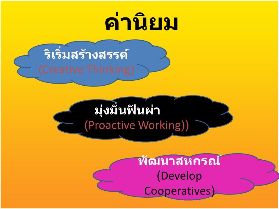 ค่านิยม ริเริ่มสร้างสรรค์ (Creative Thinking) มุ่งมั่นฟันผ่า (Proactive Working)) พัฒนาสหกรณ์ (Develop Cooperatives)