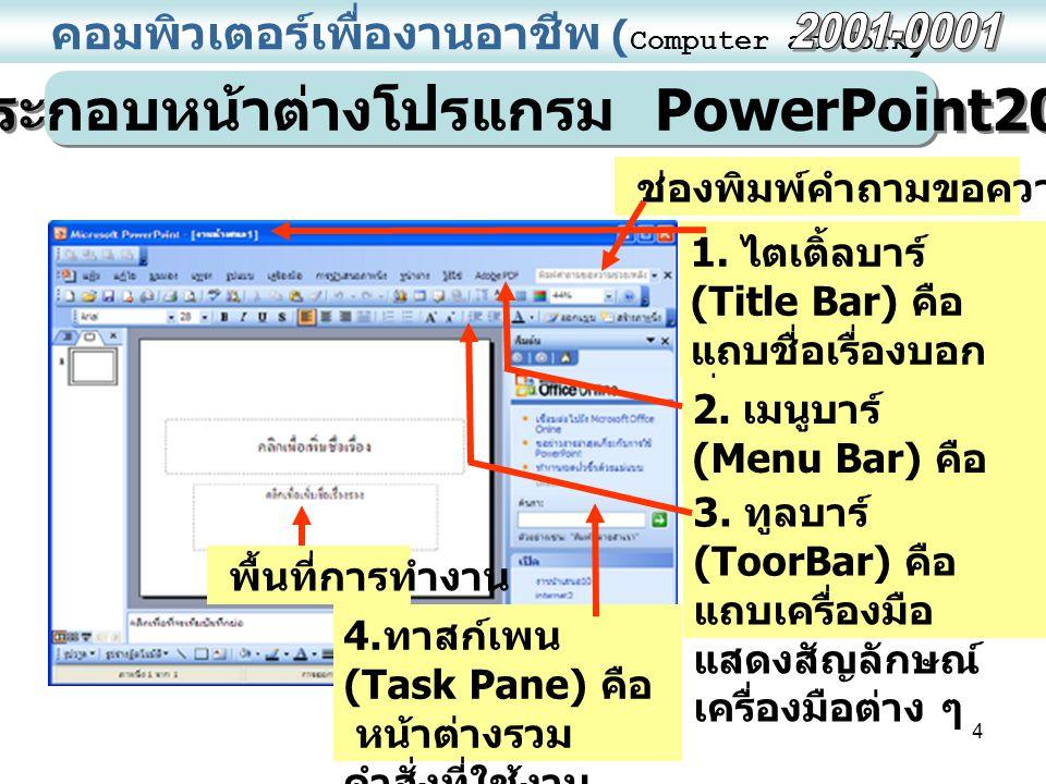 4 คอมพิวเตอร์เพื่องานอาชีพ ( Computer at Work ) ส่วนประกอบหน้าต่างโปรแกรม PowerPoint2003 ช่องพิมพ์คำถามขอความช่วยเหลือ 1.