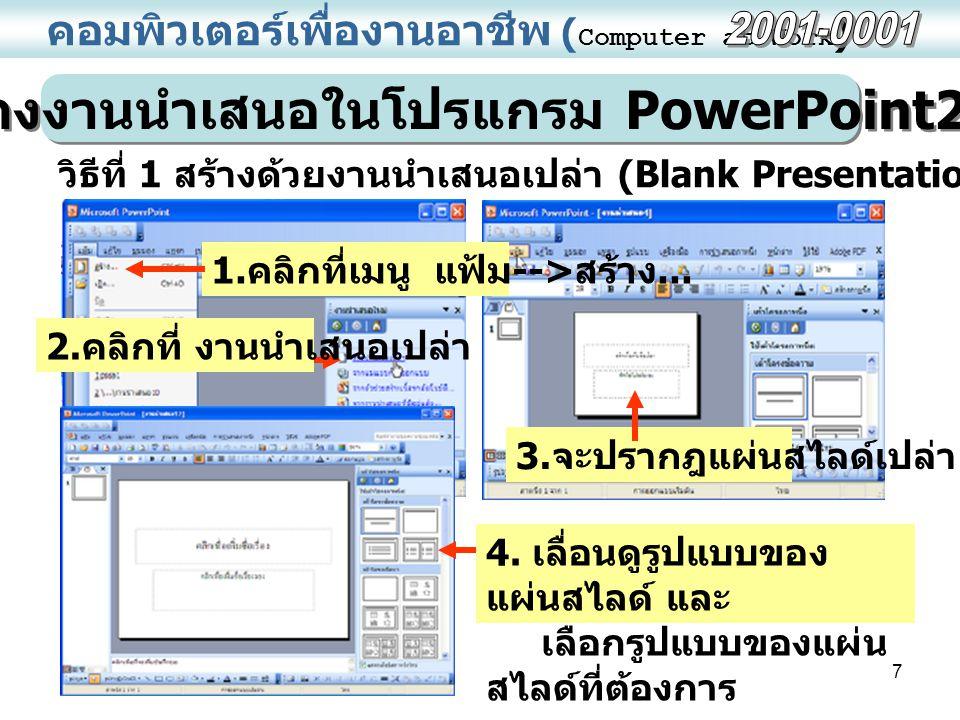 7 คอมพิวเตอร์เพื่องานอาชีพ ( Computer at Work ) การสร้างงานนำเสนอในโปรแกรม PowerPoint2003 วิธีที่ 1 สร้างด้วยงานนำเสนอเปล่า (Blank Presentation) 1.