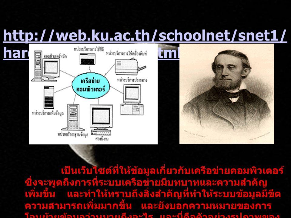 http://web.ku.ac.th/schoolnet/snet1/ hardware/network.html http://web.ku.ac.th/schoolnet/snet1/ hardware/network.html เป็นเว็บไซต์ที่ให้ข้อมูลเกี่ยวกั