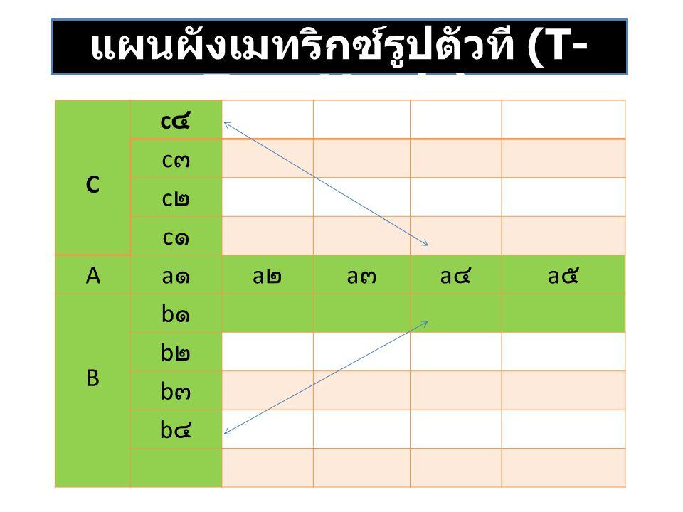 แผนผังเมทริกซ์รูปตัวที (T- Type Matrix) C c๔c๔ c๓c๓ c๒c๒ c๑c๑ A a๑a๑ a๒a๒ a๓a๓ a๔a๔ a๕a๕ B b๑b๑ b๒b๒ b๓b๓ b๔b๔