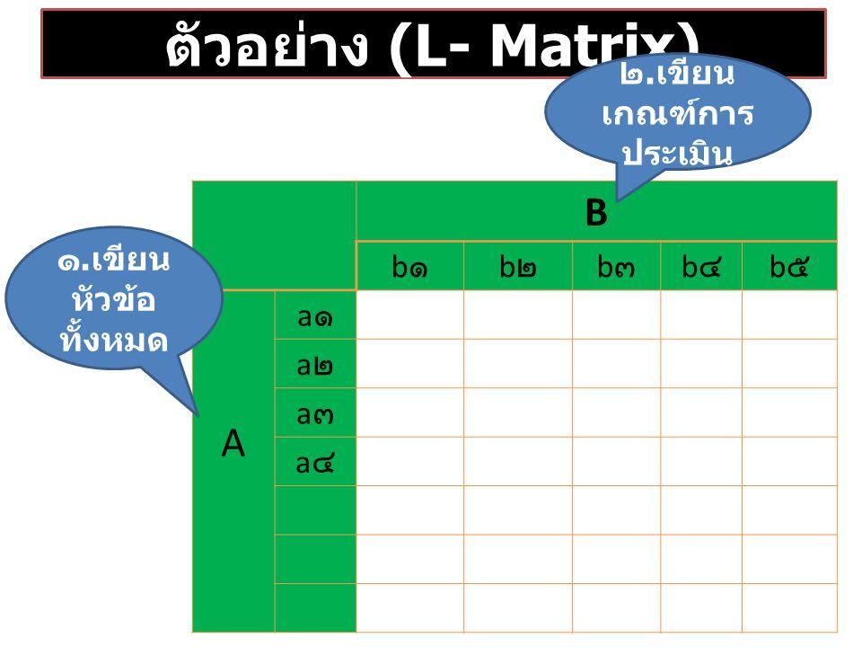 ตัวอย่าง (L- Matrix) B b๑b๑ b๒b๒ b๓b๓ b๔b๔ b๕b๕ A a๑a๑ a๒a๒ a๓a๓ a๔a๔ ๒.